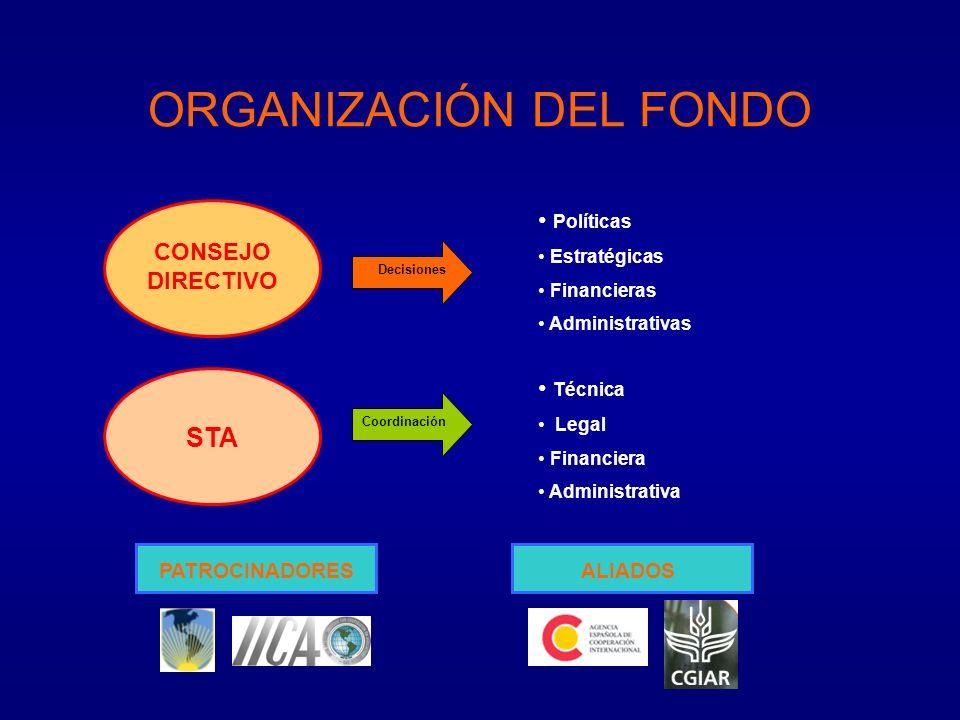 ORGANIZACIÓN DEL FONDO CONSEJO DIRECTIVO Políticas Estratégicas Financieras Administrativas Decisiones STA Coordinación Técnica Legal Financiera Administrativa PATROCINADORESALIADOS