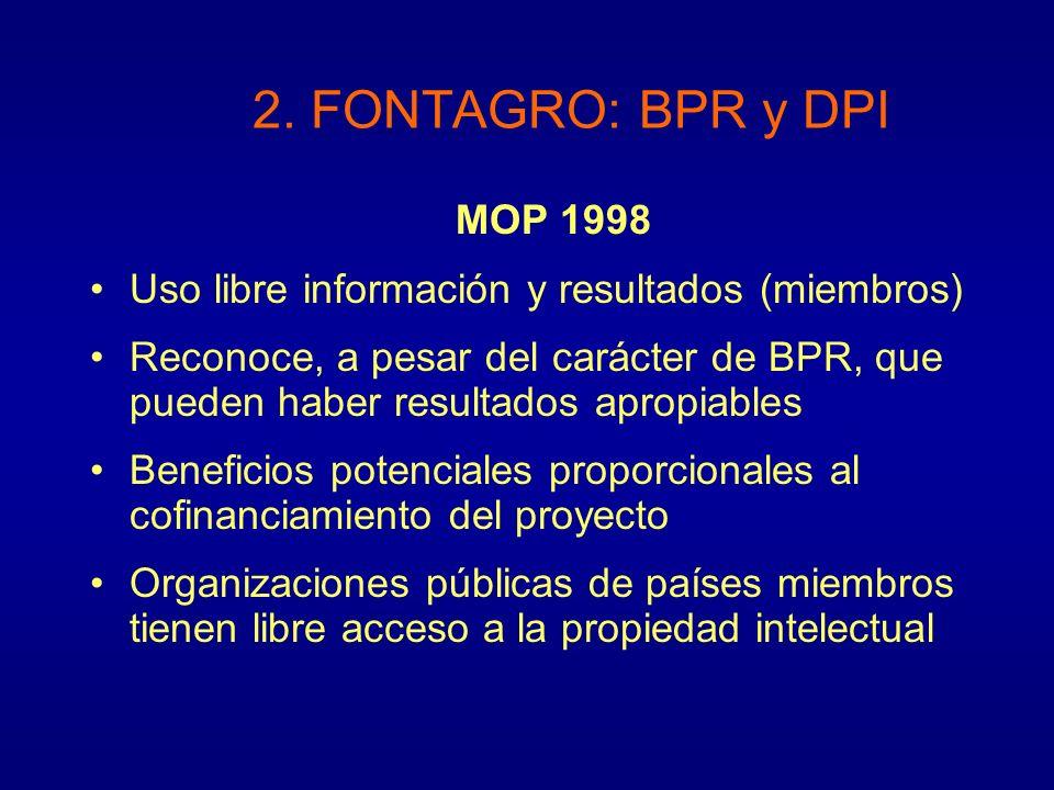 MOP 1998 Uso libre información y resultados (miembros) Reconoce, a pesar del carácter de BPR, que pueden haber resultados apropiables Beneficios poten
