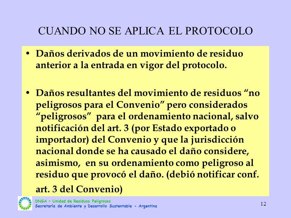 DNGA – Unidad de Residuos Peligrosos Secretaría de Ambiente y Desarrollo Sustentable - Argentina 12 CUANDO NO SE APLICA EL PROTOCOLO Daños derivados d