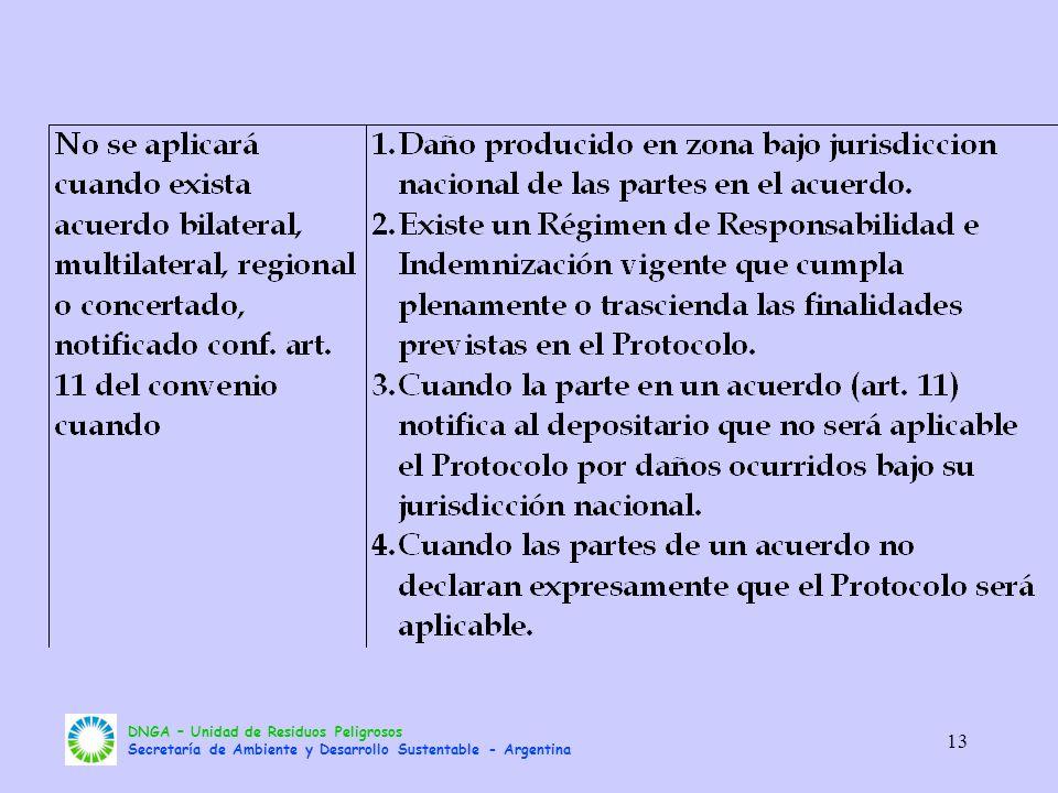 DNGA – Unidad de Residuos Peligrosos Secretaría de Ambiente y Desarrollo Sustentable - Argentina 13
