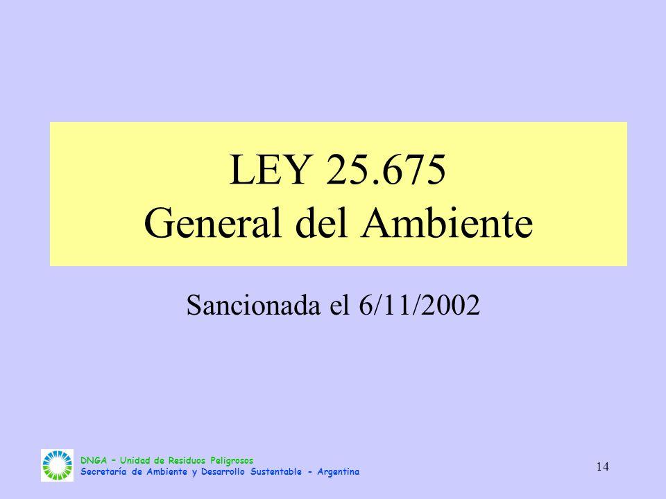 DNGA – Unidad de Residuos Peligrosos Secretaría de Ambiente y Desarrollo Sustentable - Argentina 14 LEY 25.675 General del Ambiente Sancionada el 6/11