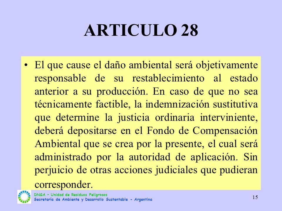 DNGA – Unidad de Residuos Peligrosos Secretaría de Ambiente y Desarrollo Sustentable - Argentina 15 ARTICULO 28 El que cause el daño ambiental será ob