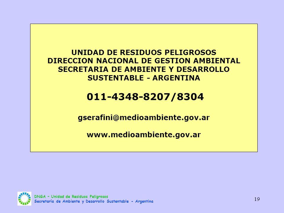 DNGA – Unidad de Residuos Peligrosos Secretaría de Ambiente y Desarrollo Sustentable - Argentina 19 UNIDAD DE RESIDUOS PELIGROSOS DIRECCION NACIONAL D