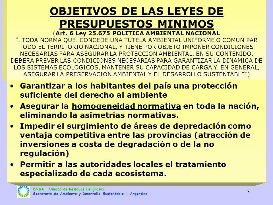 DNGA – Unidad de Residuos Peligrosos Secretaría de Ambiente y Desarrollo Sustentable - Argentina 3 OBJETIVOS DE LAS LEYES DE PRESUPUESTOS MINIMOS (Art