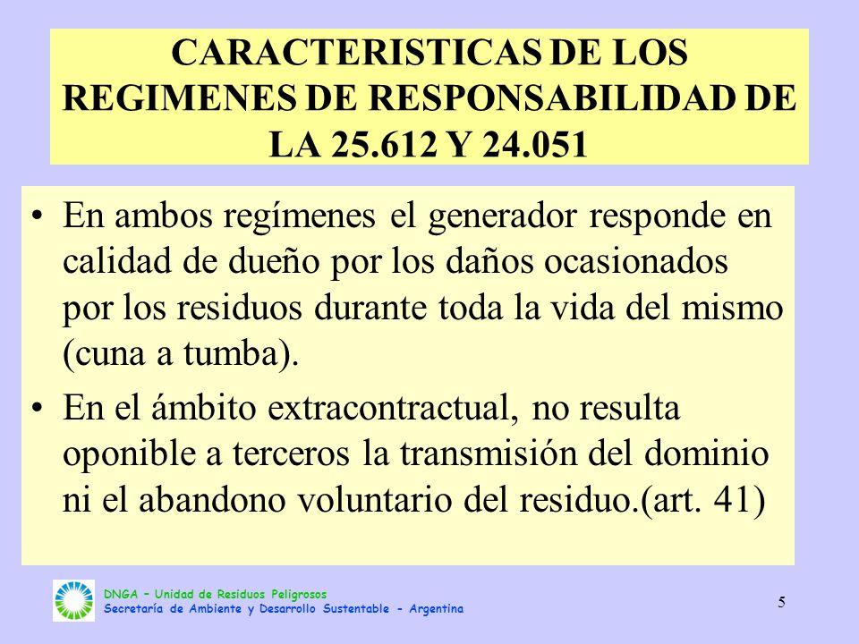 DNGA – Unidad de Residuos Peligrosos Secretaría de Ambiente y Desarrollo Sustentable - Argentina 5 CARACTERISTICAS DE LOS REGIMENES DE RESPONSABILIDAD