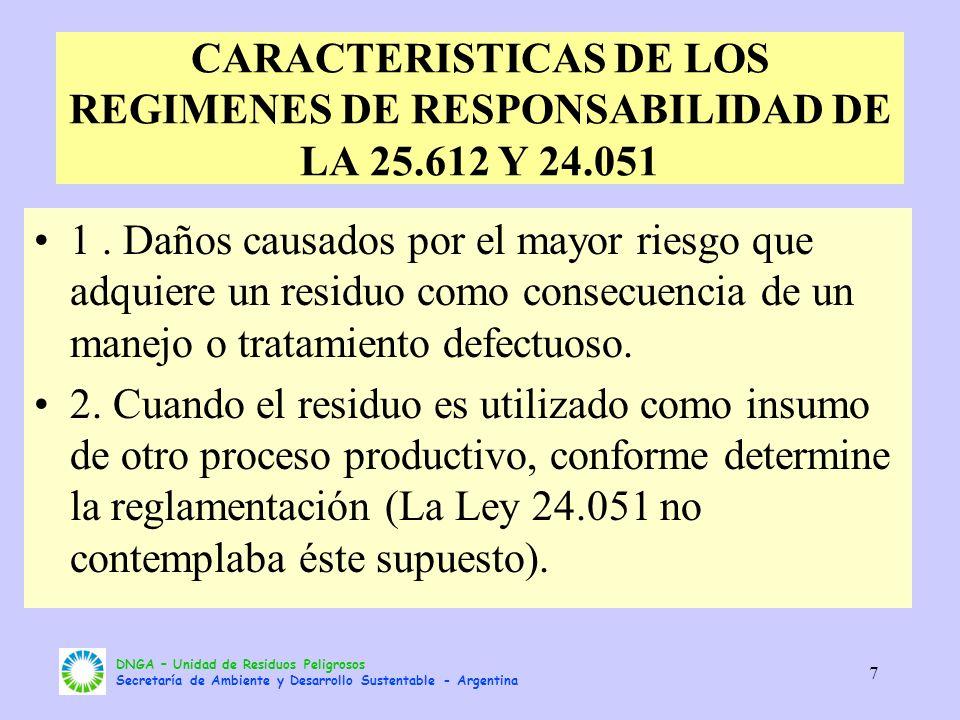 DNGA – Unidad de Residuos Peligrosos Secretaría de Ambiente y Desarrollo Sustentable - Argentina 7 CARACTERISTICAS DE LOS REGIMENES DE RESPONSABILIDAD