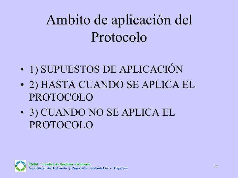 DNGA – Unidad de Residuos Peligrosos Secretaría de Ambiente y Desarrollo Sustentable - Argentina 8 Ambito de aplicación del Protocolo 1) SUPUESTOS DE