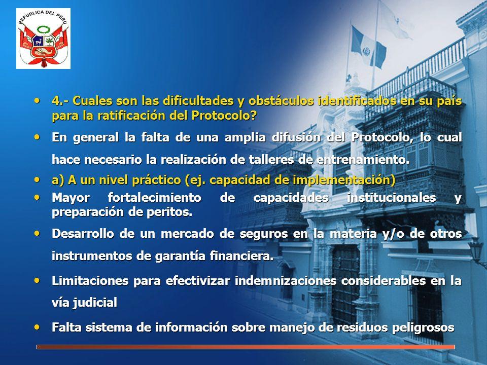 4.- Cuales son las dificultades y obstáculos identificados en su país para la ratificación del Protocolo.