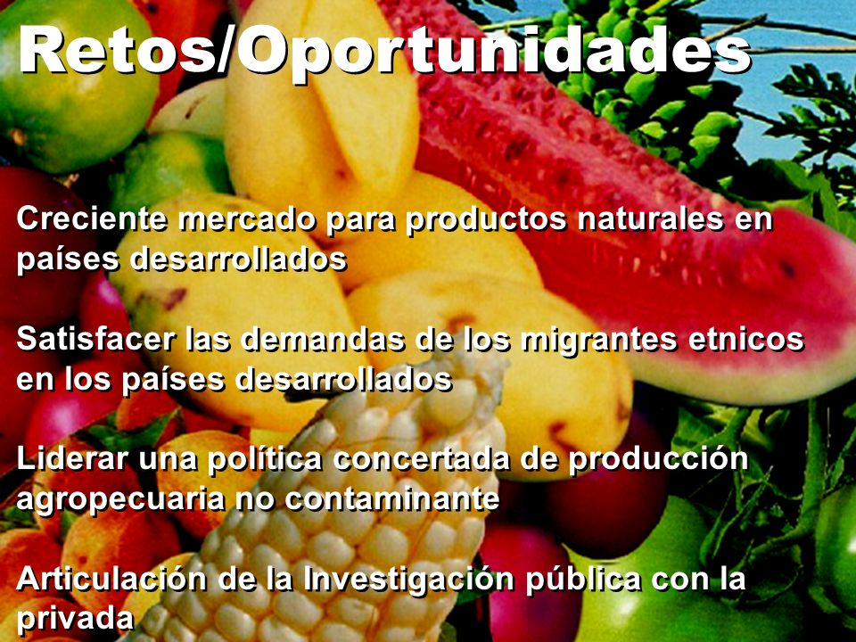 Retos/Oportunidades Creciente mercado para productos naturales en países desarrollados Satisfacer las demandas de los migrantes etnicos en los países
