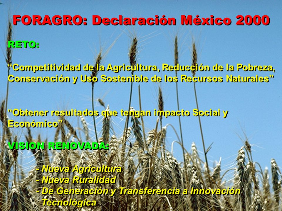 FORAGRO: Declaración México 2000 RETO: Competitividad de la Agricultura, Reducción de la Pobreza, Conservación y Uso Sostenible de los Recursos Natura