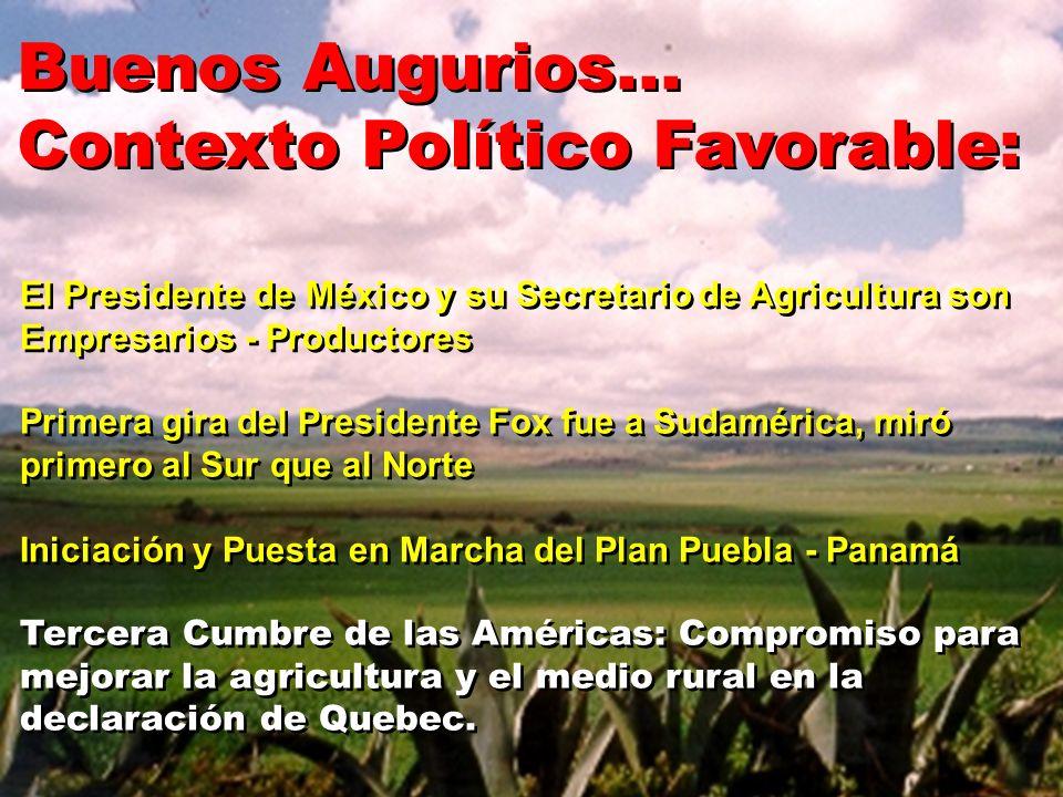 Buenos Augurios... Contexto Político Favorable: Buenos Augurios... Contexto Político Favorable: El Presidente de México y su Secretario de Agricultura