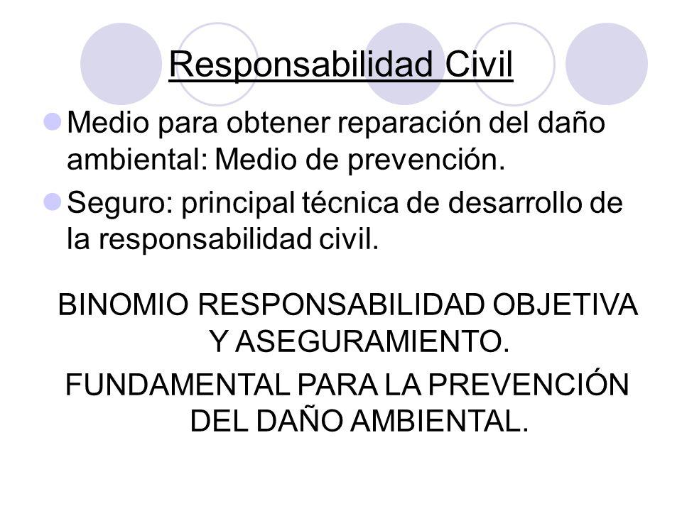 Responsabilidad Civil Medio para obtener reparación del daño ambiental: Medio de prevención. Seguro: principal técnica de desarrollo de la responsabil