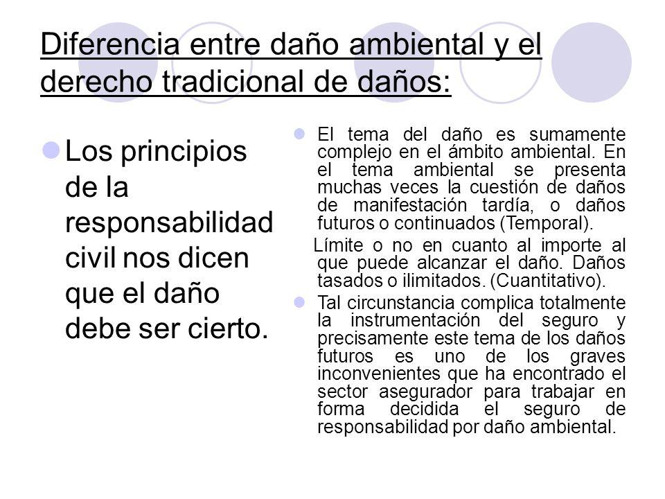 Diferencia entre daño ambiental y el derecho tradicional de daños: Los principios de la responsabilidad civil nos dicen que el daño debe ser cierto. E