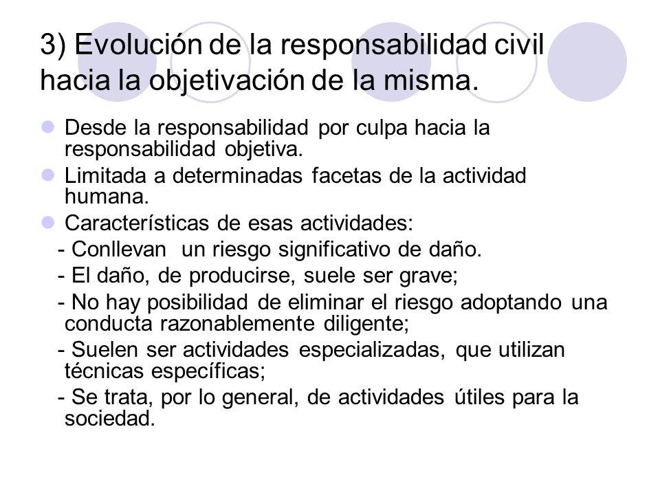 3) Evolución de la responsabilidad civil hacia la objetivación de la misma. Desde la responsabilidad por culpa hacia la responsabilidad objetiva. Limi