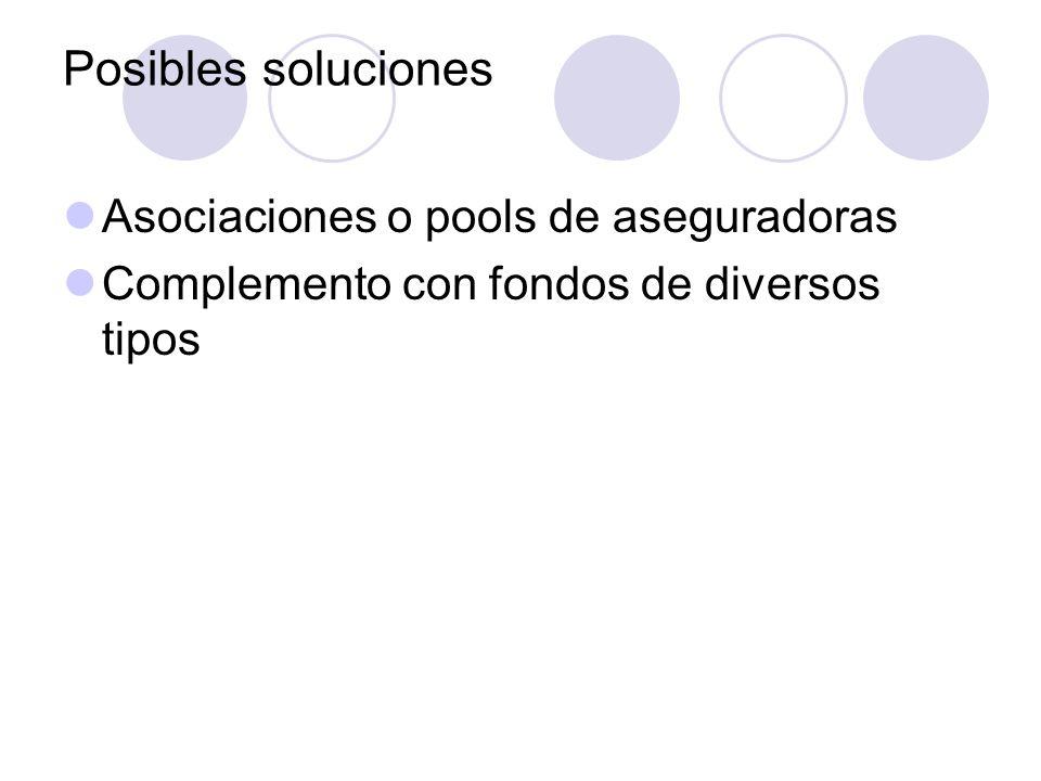 Posibles soluciones Asociaciones o pools de aseguradoras Complemento con fondos de diversos tipos
