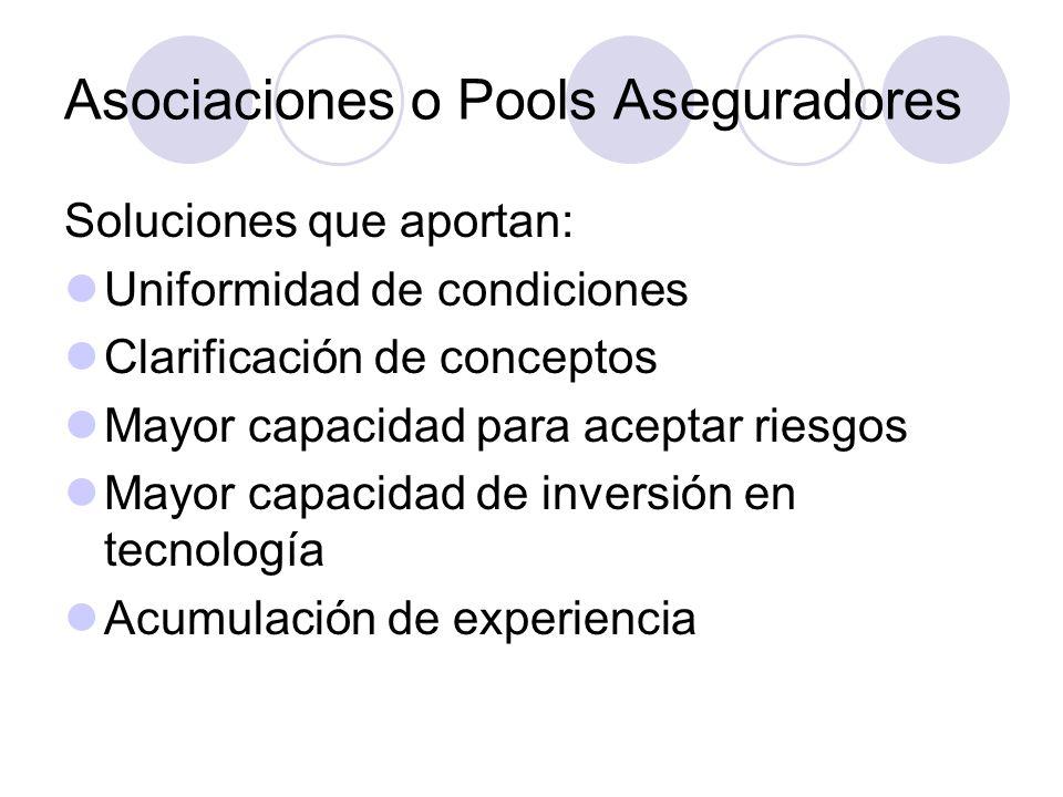 Asociaciones o Pools Aseguradores Soluciones que aportan: Uniformidad de condiciones Clarificación de conceptos Mayor capacidad para aceptar riesgos M