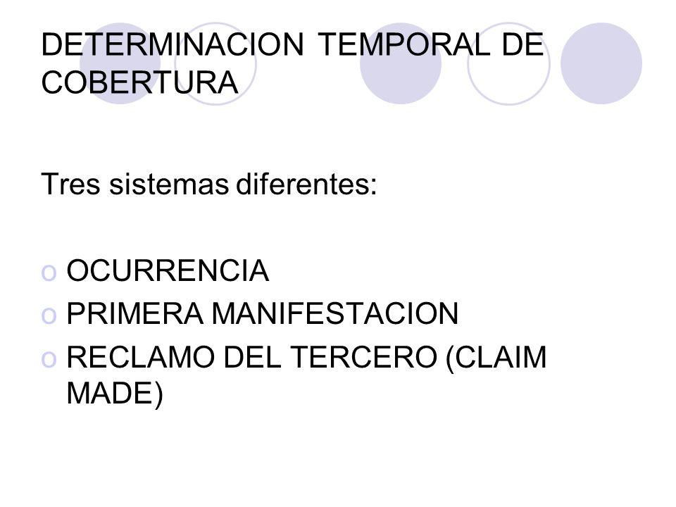 DETERMINACION TEMPORAL DE COBERTURA Tres sistemas diferentes: oOCURRENCIA oPRIMERA MANIFESTACION oRECLAMO DEL TERCERO (CLAIM MADE)