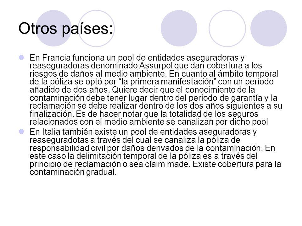 Otros países: En Francia funciona un pool de entidades aseguradoras y reaseguradoras denominado Assurpol que dan cobertura a los riesgos de daños al m