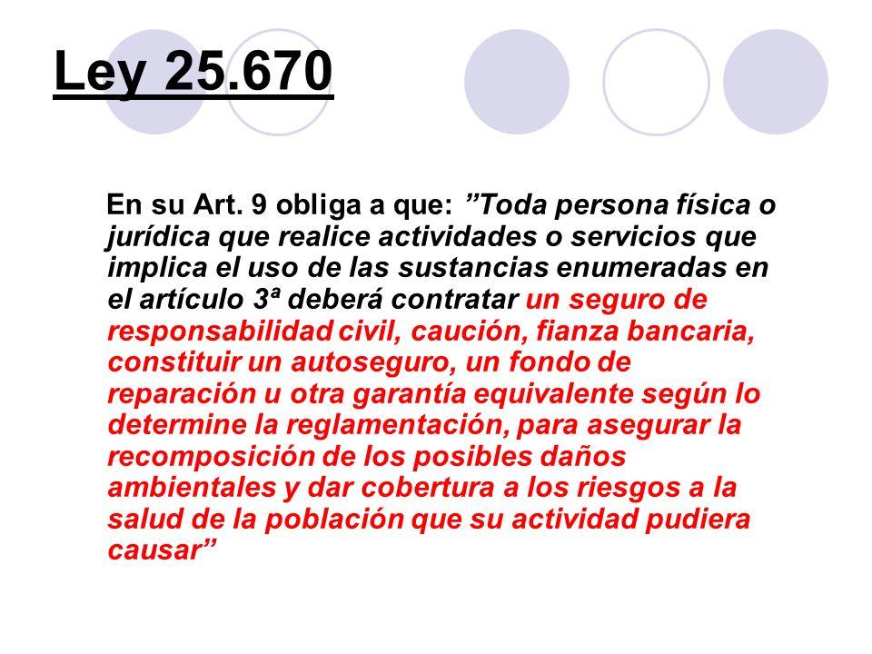 Ley 25.670 En su Art. 9 obliga a que: Toda persona física o jurídica que realice actividades o servicios que implica el uso de las sustancias enumerad
