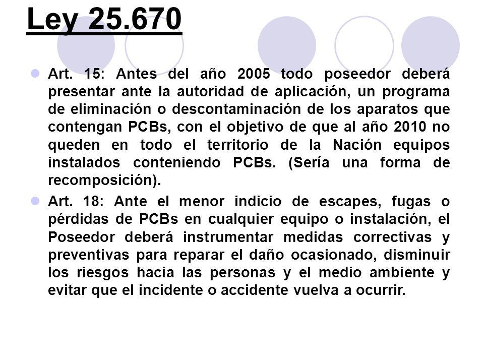 Ley 25.670 Art. 15: Antes del año 2005 todo poseedor deberá presentar ante la autoridad de aplicación, un programa de eliminación o descontaminación d