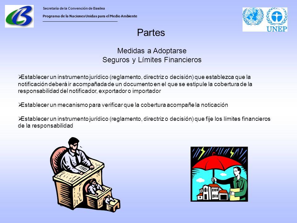 Secretaría de la Convención de Basilea Programa de la Naciones Unidas para el Medio Ambiente ___________________________________ Partes Medidas a Adoptarse Seguros y Límites Financieros Establecer un instrumento jurídico (reglamento, directriz o decisión) que establezca que la notificación deberá ir acompañada de un documento en el que se estipule la cobertura de la responsabilidad del notificador, exportador o importador Establecer un mecanismo para verificar que la cobertura acompañe la noticación Establecer un instrumento jurídico (reglamento, directriz o decisión) que fije los límites financieros de la responsabilidad