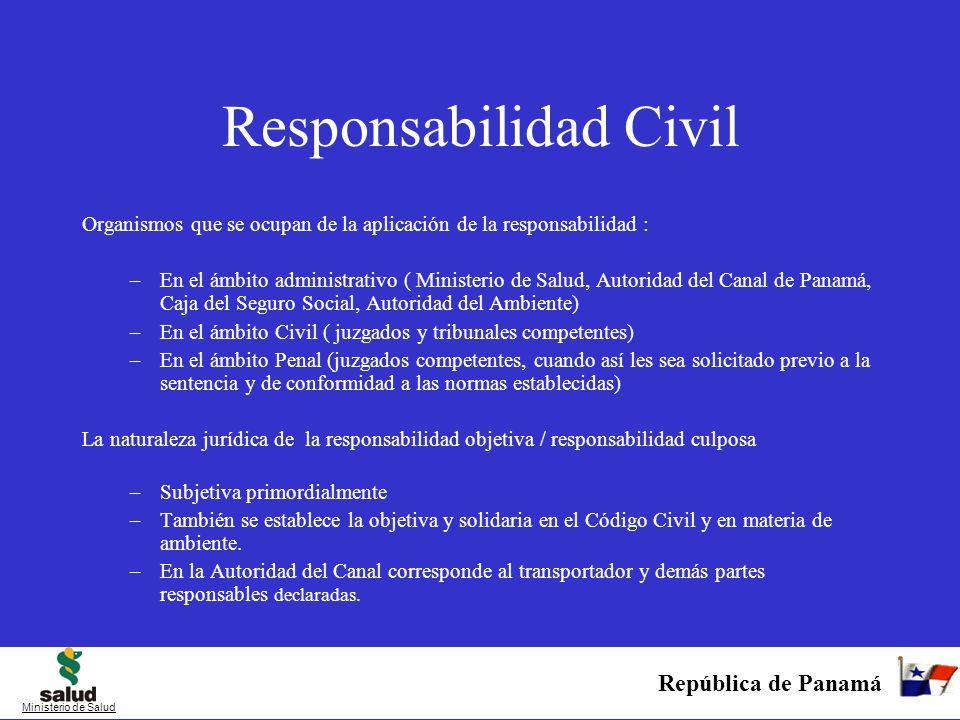 República de Panamá Ministerio de Salud Responsabilidad Civil Organismos que se ocupan de la aplicación de la responsabilidad : –En el ámbito administ