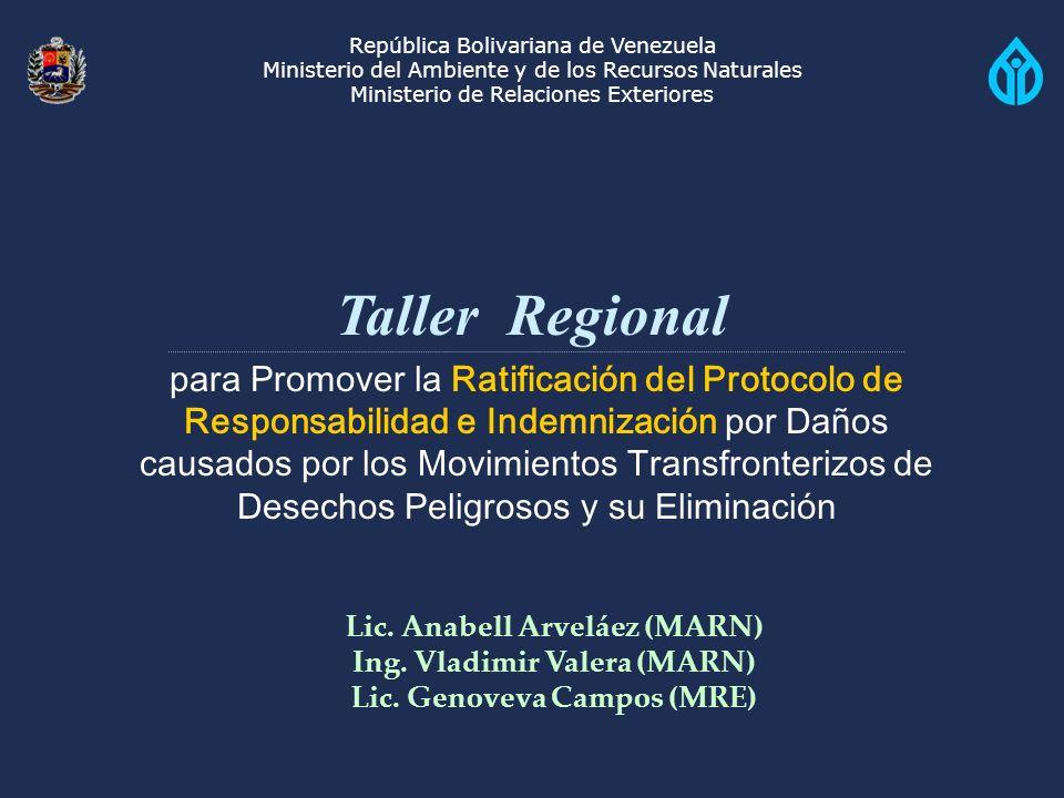 República Bolivariana de Venezuela Ministerio del Ambiente y de los Recursos Naturales Ministerio de Relaciones Exteriores Taller Regional para Promover la Ratificación del Protocolo de Responsabilidad e Indemnización por Daños causados por los Movimientos Transfronterizos de Desechos Peligrosos y su Eliminación Lic.