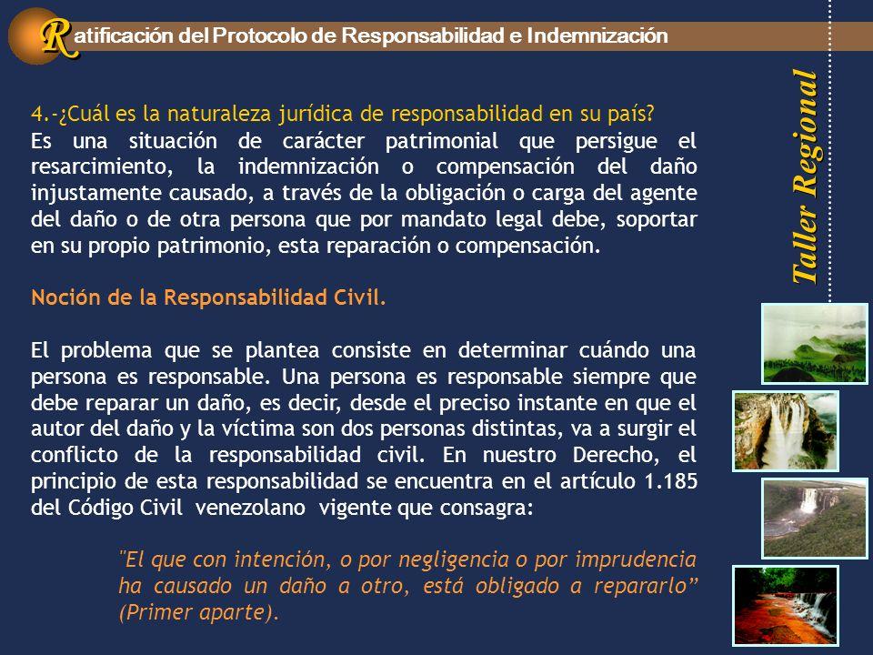Taller Regional atificación del Protocolo de Responsabilidad e Indemnización R R 4.-¿Cuál es la naturaleza jurídica de responsabilidad en su país.