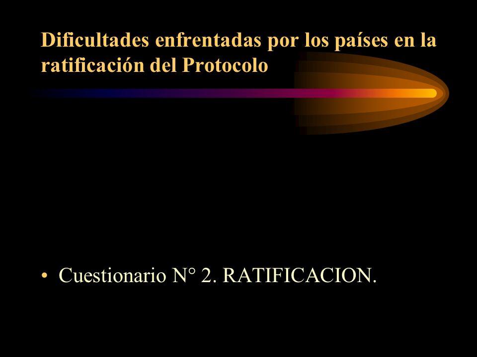 Dificultades enfrentadas por los países en la ratificación del Protocolo Cuestionario N° 2. RATIFICACION.