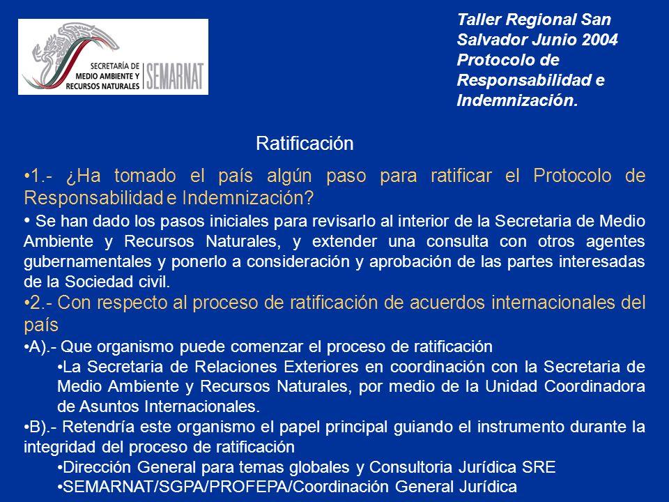 Taller Regional San Salvador Junio 2004 Protocolo de Responsabilidad e Indemnización.