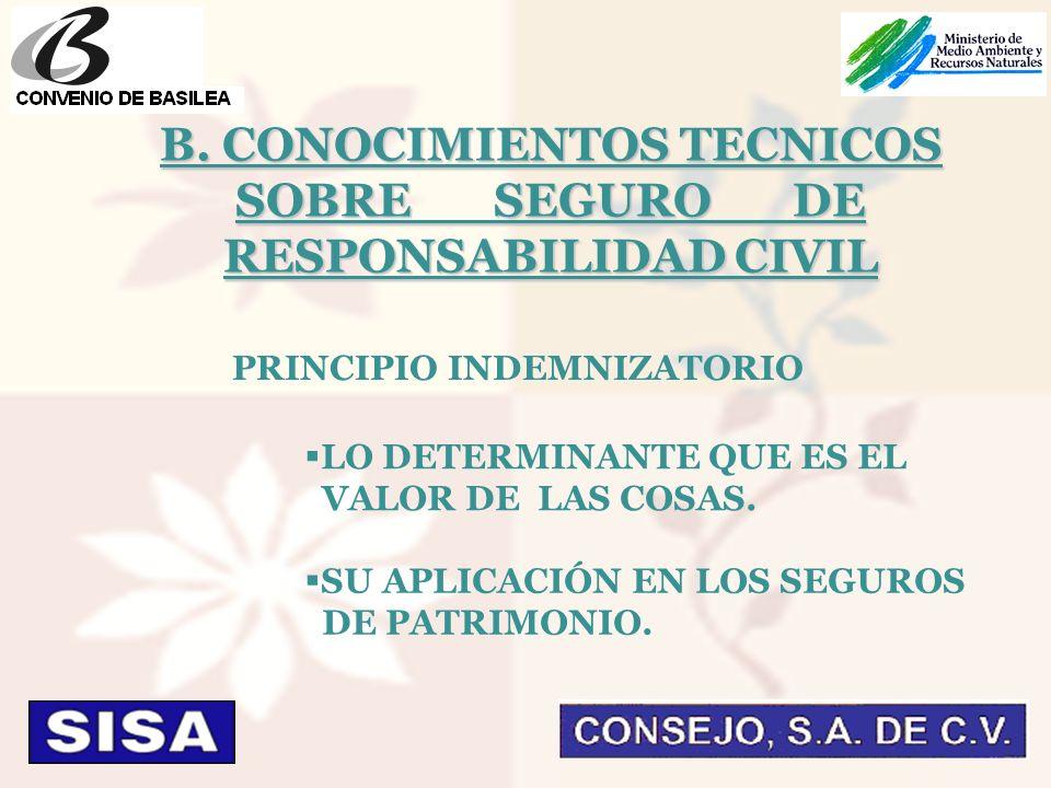 PRINCIPIO INDEMNIZATORIO LO DETERMINANTE QUE ES EL VALOR DE LAS COSAS.