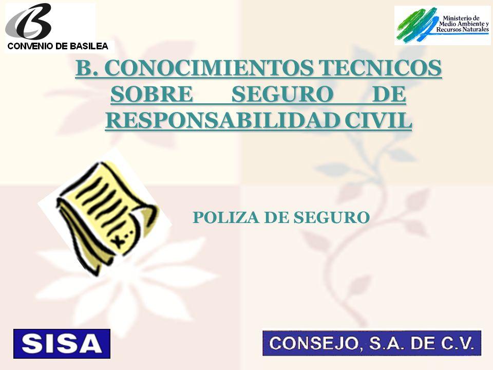POLIZA DE SEGURO B. CONOCIMIENTOS TECNICOS SOBRE SEGURO DE RESPONSABILIDAD CIVIL