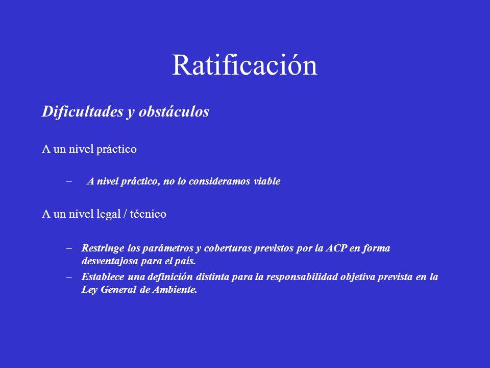 Ratificación Dificultades y obstáculos A un nivel práctico – A nivel práctico, no lo consideramos viable A un nivel legal / técnico –Restringe los par