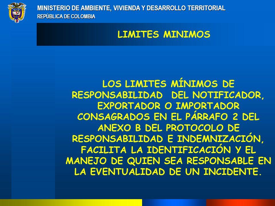 MINISTERIO DE AMBIENTE, VIVIENDA Y DESARROLLO TERRITORIAL REPÚBLICA DE COLOMBIA LA LEY NACIONAL DETERMINARÁ LOS LÍMITES FINANCIEROS POR CONCEPTO DE RESPONSABILIDAD LIMITES FINANCIEROS