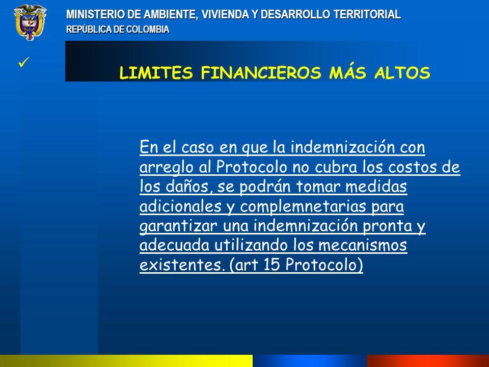 MINISTERIO DE AMBIENTE, VIVIENDA Y DESARROLLO TERRITORIAL REPÚBLICA DE COLOMBIA LOS LIMITES MÍNIMOS DE RESPONSABILIDAD DEL NOTIFICADOR, EXPORTADOR O IMPORTADOR CONSAGRADOS EN EL PÁRRAFO 2 DEL ANEXO B DEL PROTOCOLO DE RESPONSABILIDAD E INDEMNIZACIÓN, FACILITA LA IDENTIFICACIÓN Y EL MANEJO DE QUIEN SEA RESPONSABLE EN LA EVENTUALIDAD DE UN INCIDENTE.