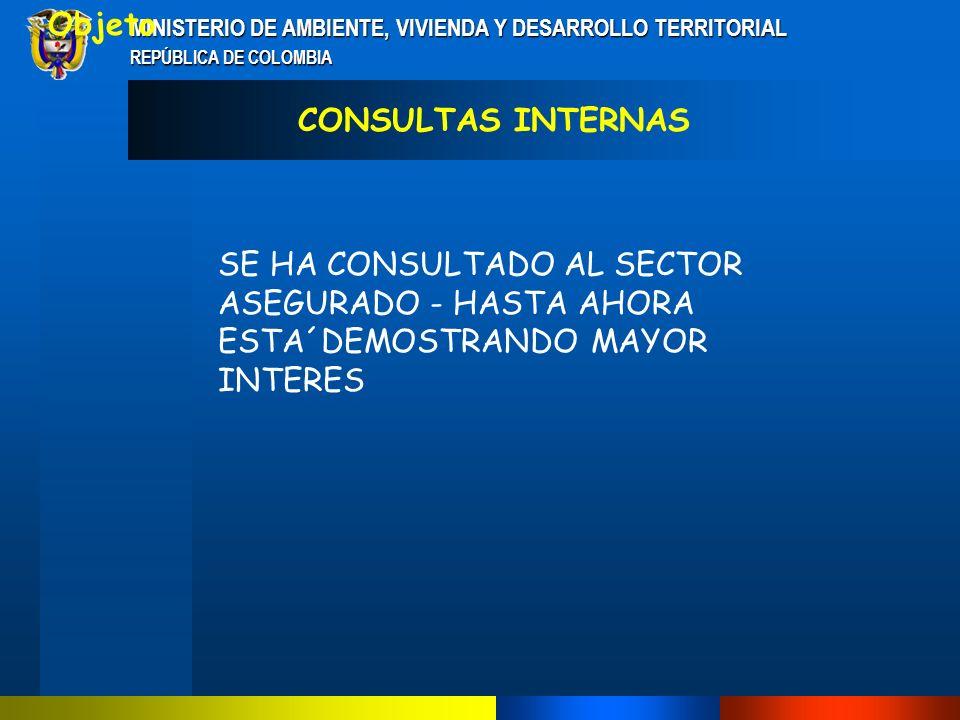 MINISTERIO DE AMBIENTE, VIVIENDA Y DESARROLLO TERRITORIAL REPÚBLICA DE COLOMBIA SECTOR ASEGURADOR SE HACE NECESARIO INFORMACIÓN MÁS DETALLADA A ESTE SECTOR