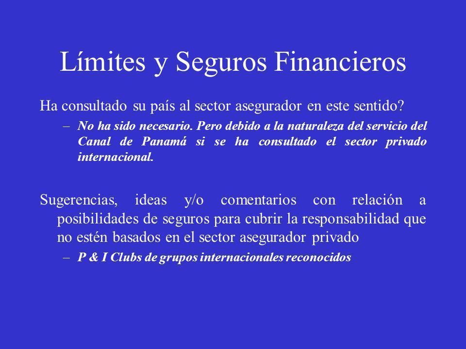 Límites y Seguros Financieros Ha consultado su país al sector asegurador en este sentido? –No ha sido necesario. Pero debido a la naturaleza del servi