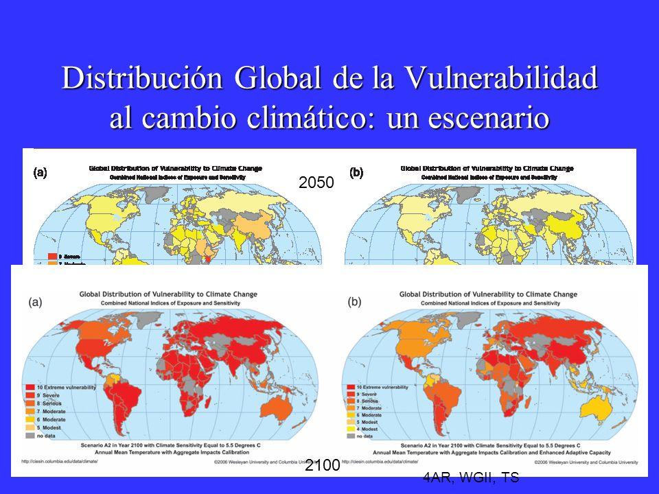 Distribución Global de la Vulnerabilidad al cambio climático: un escenario 2050 2100 4AR, WGII, TS