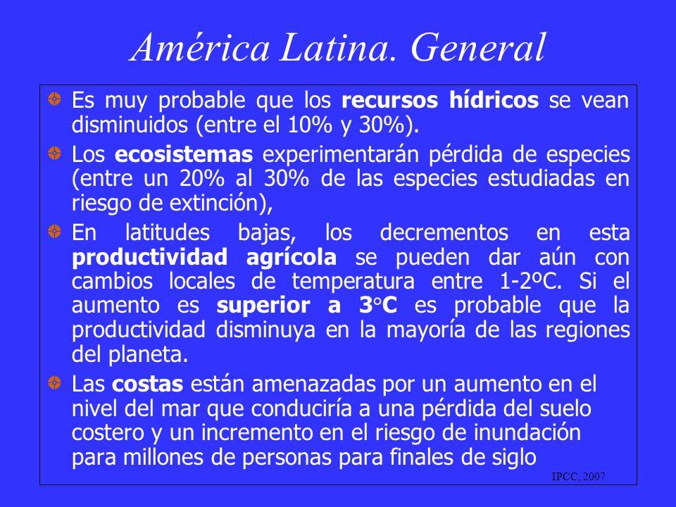 América Latina. General Es muy probable que los recursos hídricos se vean disminuidos (entre el 10% y 30%). Los ecosistemas experimentarán pérdida de