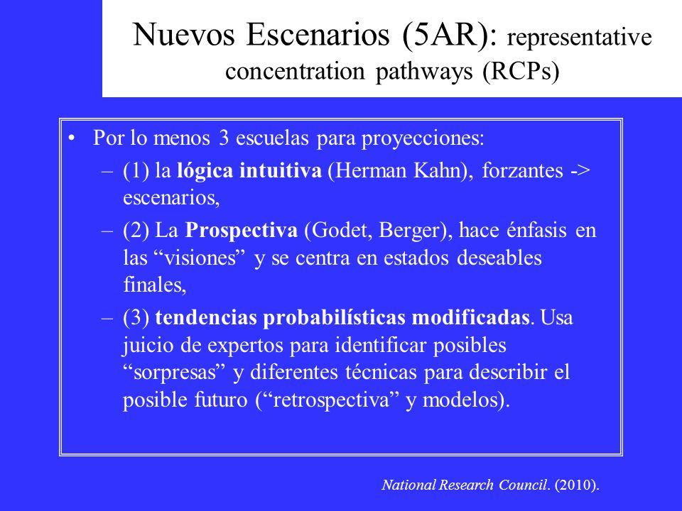 Nuevos Escenarios (5AR): representative concentration pathways (RCPs) Por lo menos 3 escuelas para proyecciones: –(1) la lógica intuitiva (Herman Kahn