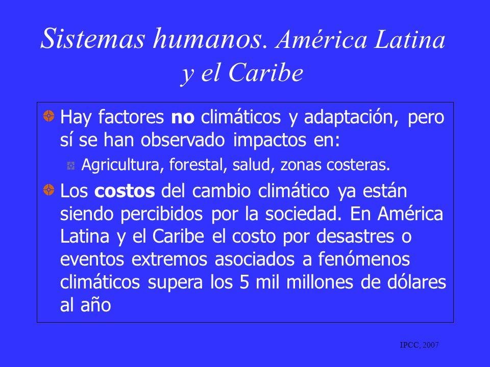 Sistemas humanos. América Latina y el Caribe Hay factores no climáticos y adaptación, pero sí se han observado impactos en: Agricultura, forestal, sal