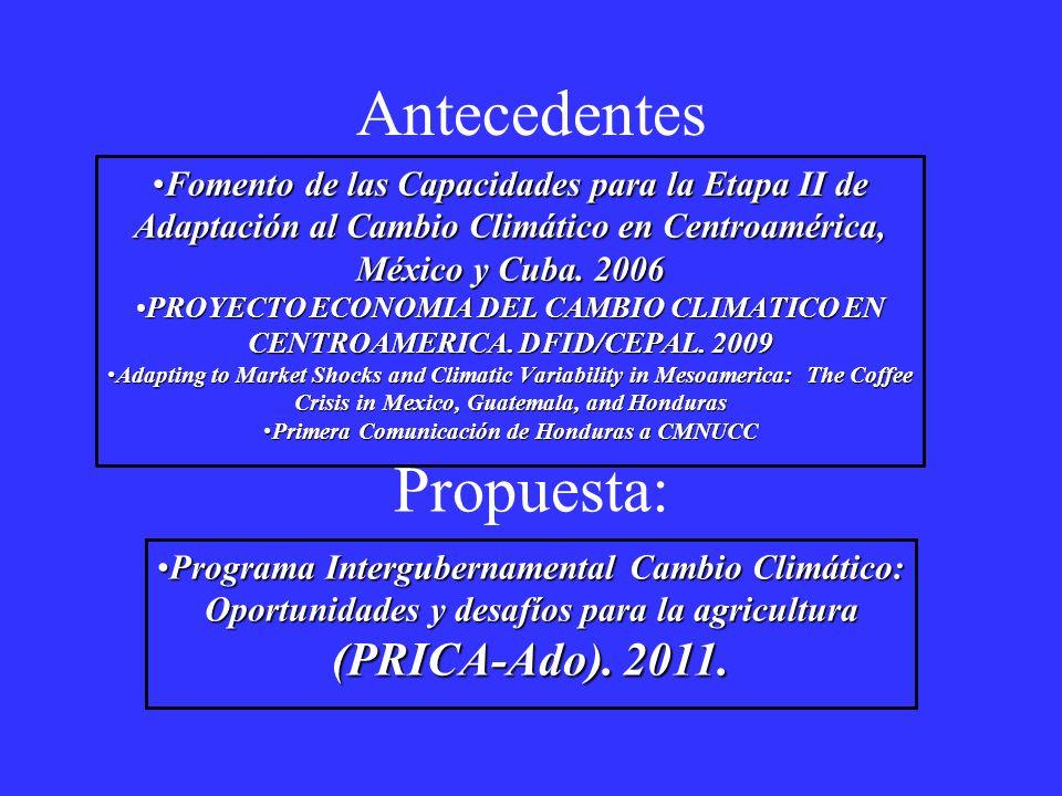 Antecedentes Fomento de las Capacidades para la Etapa II de Adaptación al Cambio Climático en Centroamérica, México y Cuba. 2006Fomento de las Capacid