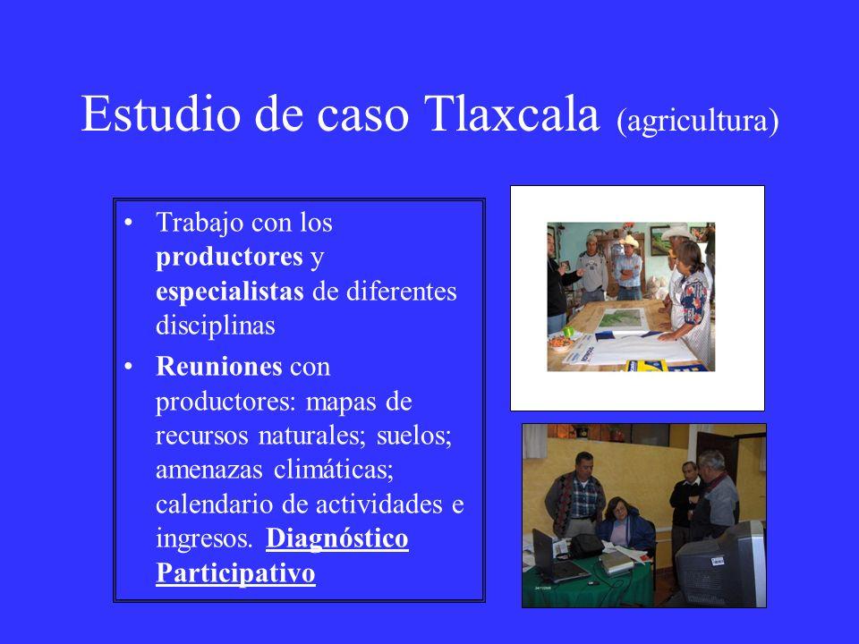 Estudio de caso Tlaxcala (agricultura) Trabajo con los productores y especialistas de diferentes disciplinas Reuniones con productores: mapas de recur