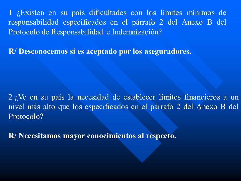 1 ¿Existen en su país dificultades con los límites mínimos de responsabilidad especificados en el párrafo 2 del Anexo B del Protocolo de Responsabilidad e Indemnización.