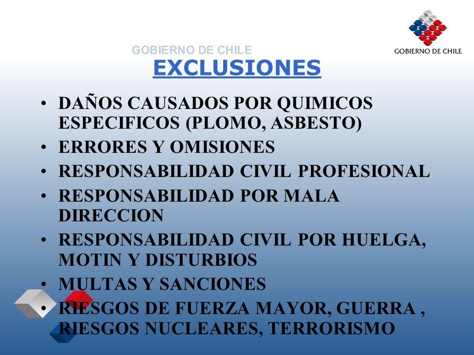 EXCLUSIONES DAÑOS CAUSADOS POR QUIMICOS ESPECIFICOS (PLOMO, ASBESTO) ERRORES Y OMISIONES RESPONSABILIDAD CIVIL PROFESIONAL RESPONSABILIDAD POR MALA DI