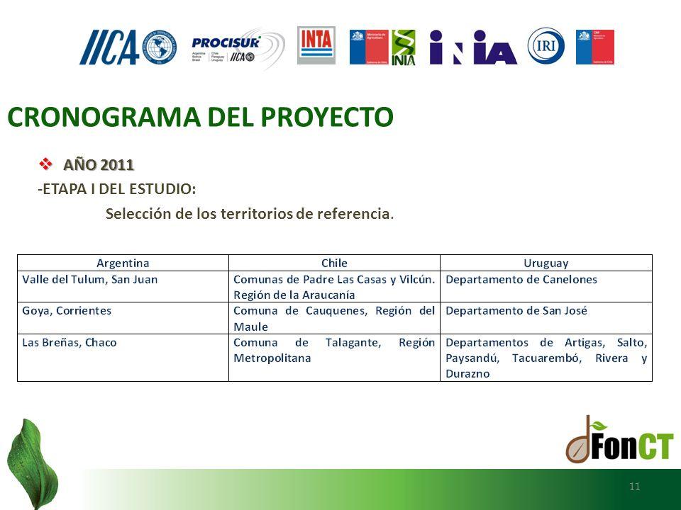 AÑO 2011 AÑO 2011 -ETAPA I DEL ESTUDIO: Selección de los territorios de referencia. 11 CRONOGRAMA DEL PROYECTO