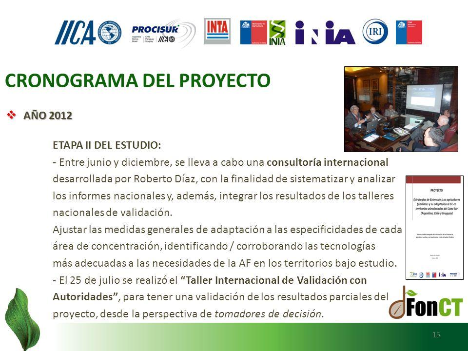 AÑO 2012 AÑO 2012 ETAPA II DEL ESTUDIO: - Entre junio y diciembre, se lleva a cabo una consultoría internacional desarrollada por Roberto Díaz, con la
