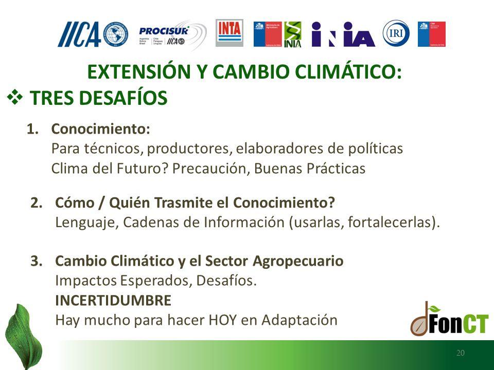 20 EXTENSIÓN Y CAMBIO CLIMÁTICO: TRES DESAFÍOS 1.Conocimiento: Para técnicos, productores, elaboradores de políticas Clima del Futuro? Precaución, Bue