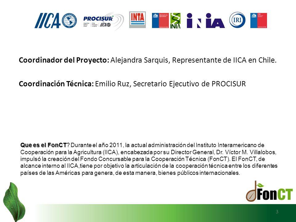 3 Coordinador del Proyecto: Alejandra Sarquis, Representante de IICA en Chile. Coordinación Técnica: Emilio Ruz, Secretario Ejecutivo de PROCISUR Que