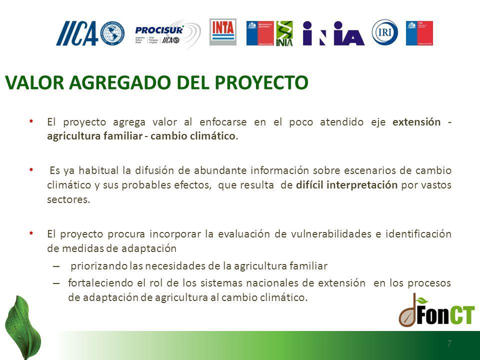 7 El proyecto agrega valor al enfocarse en el poco atendido eje extensión - agricultura familiar - cambio climático. Es ya habitual la difusión de abu